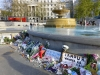 Around the fountain tributes to Paris have been laid