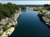 The Gardon River looking downstream from the Pont du Gard