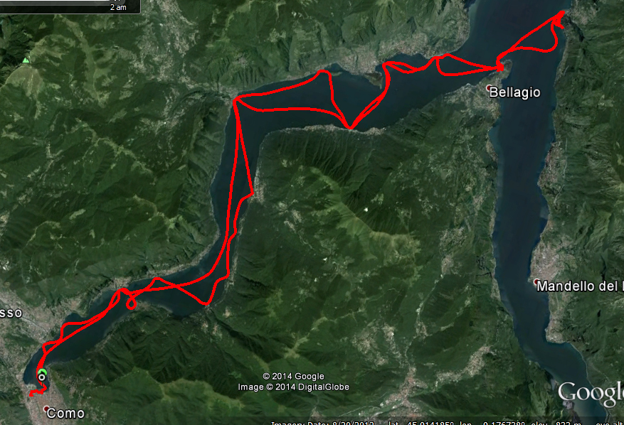 GPS track of our day on Lake Como