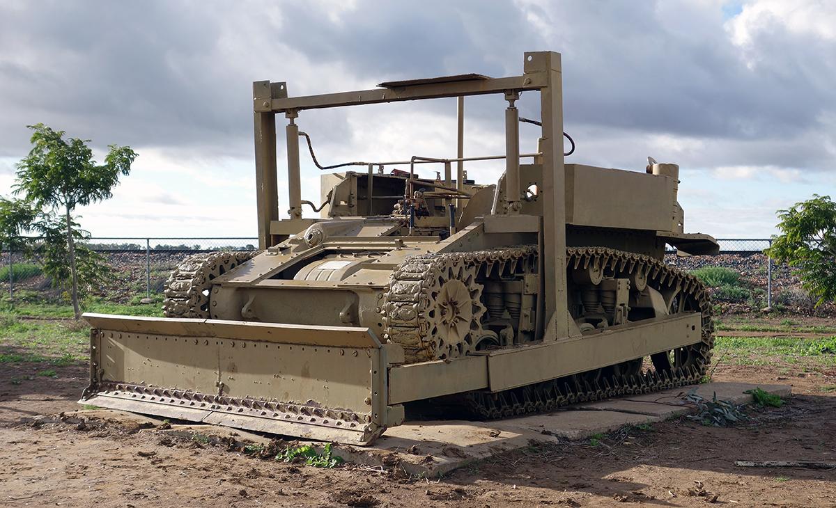 A WW2 Stuart tank converted into a bull-dozer